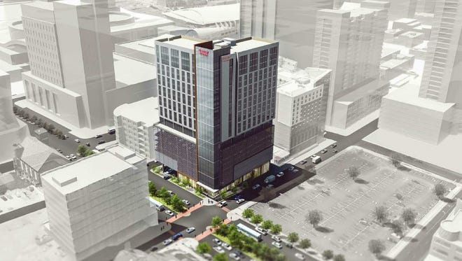 An aerial view of the Drury Plaza Hotel planned for 315 Third Ave. S. in Nashville.