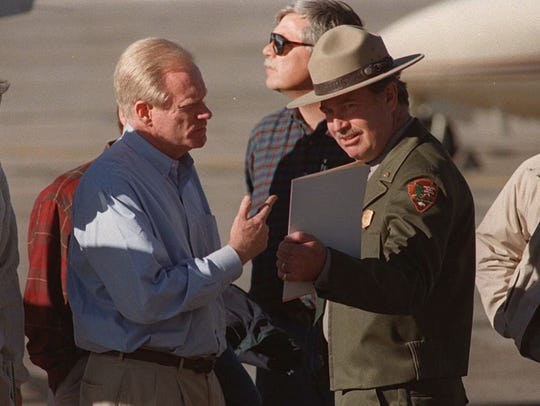 Arizona Gov. Fife Symington is greeted at the Grand