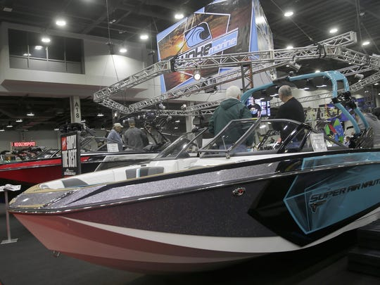 Several boats on display at the Cincinnati Travel, Sports and Boat Show