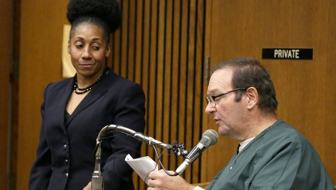 Assistant Wayne County Prosecutor Lisa Lindsey looks on after Bob Bashara made a crack about her short comings as he takes the stand in the Frank Murphy Hall of Justice courtroom of Judge Vonda Evans Friday Nov. 13, 2015 as he seeks a new trial. Mandi Wright/Detroit Free Press
