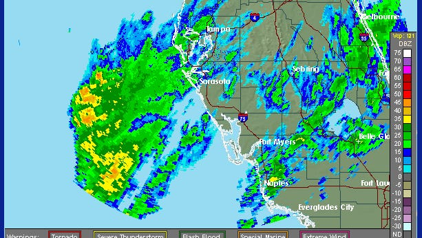 This is a look from a National Weather Service radar of the rain pummeling Southwest Florida about 11:30 a.m. Thursday, Jan. 28, 2015.