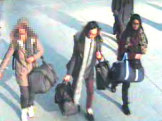EPA BRITAIN GATWICK GIRLS HEAD FOR SYRIA WAR ARMED CONFLICT GBR