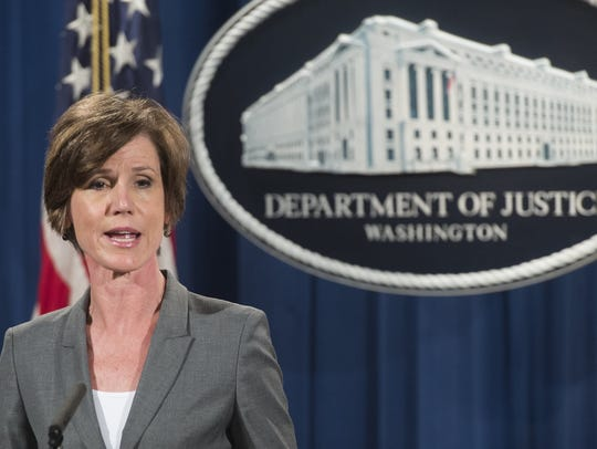 Sally Yates speaks during a press conference at the