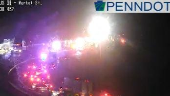 Traffic is stopped ahead of a crash on Route 30 east near the Market Street interchange in West Manchester Township Monday night.