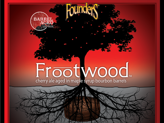 Founders Brewing Co. in January 2017 releases its new Frootwood,  a cherry ale aged in oak barrels that have held bourbon and maple syrup.