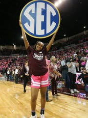 Mississippi State's Victoria Vivians (35) holds an