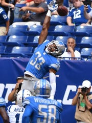 Alex Carter (33) is trying to land a roster spot as a safety after the Lions drafted him as a cornerback.