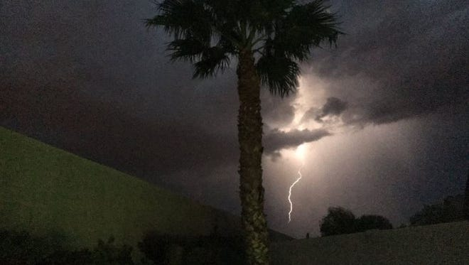 """A reader shot this """"amazing lightning"""" from East Mesa."""