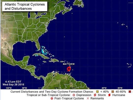 The location of Tropical Storm Matthew on Wednesday evening.