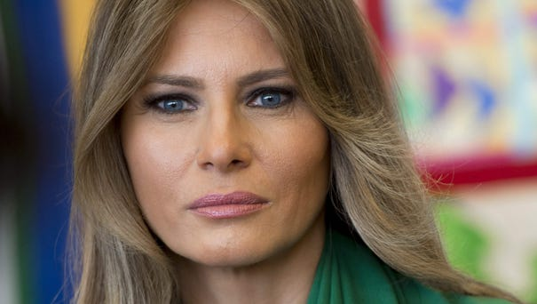 First lady Melania Trum in April 2017 during a...