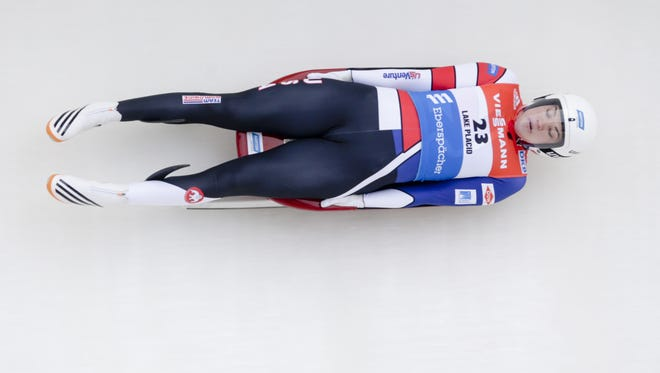 Summer Britcher is pictured earlier this season competing on her home track in Lake Placid, N.Y. Britcher placed eighth at the Sochi World Cup in Russia Saturday. She sits in second place in the overall World Cup standings with two races remaining this season.