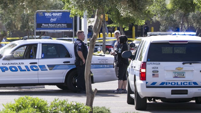 Police respond to an officer involved shooting at Walmart on Arizona Avenue on April 23, 2016 in Chandler, Ariz.