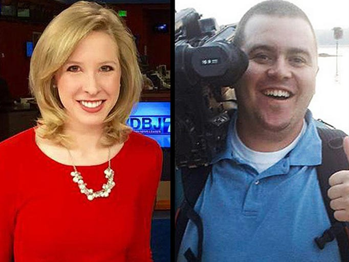 This undated composite photograph shows WDBJ-TV shows