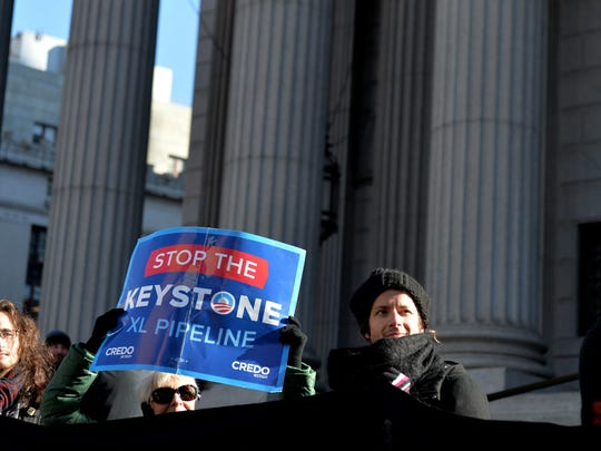 A small group gathers in New York on Nov. 18, 2014,