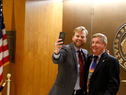 Tommy Hunt, right, poses for a selfie with Rep. Jamie