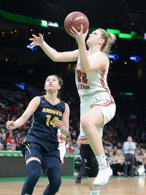 Bridgewater-Raynham's  Shay Bollin,  scores a basket on Andover defender Tatum Shaw, during their game at TD Garden on Tuesday, March 10, 2020.