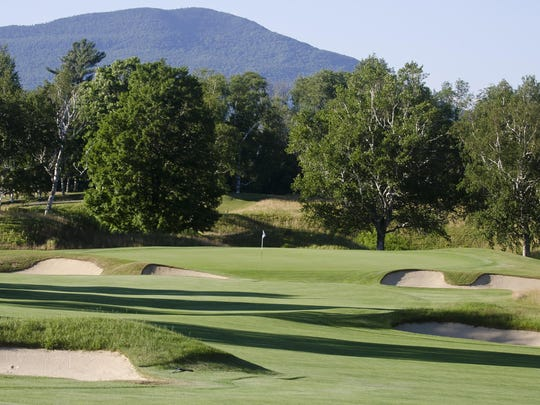 The par-5 10th green is reachable in two shots for many golfers at Ekwanok Country Club, site of this week's Vermont Amateur championship.