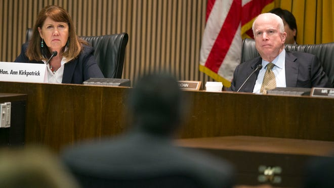 U.S. Rep. Ann Kirkpatrick, D-Ariz., and  U.S. Sen. John McCain, R-Ariz., listen to testimony during an April 22 Senate field hearing on the 2015 Gold King Mine spill in Colorado. The two could face each other in Arizona's 2016 Senate election.