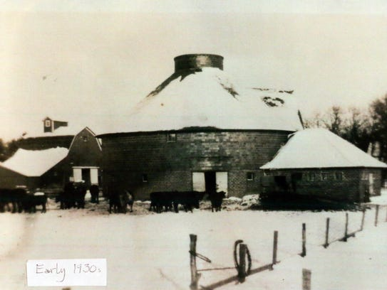 Loie Hayward's brick barn is shown in a photo from