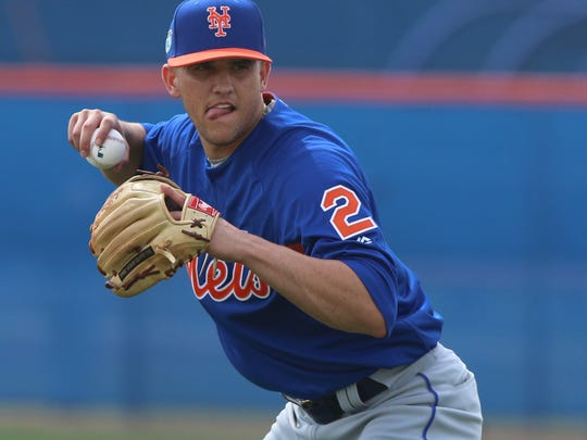 Gavin Cecchini ready to make a throw at shortstop.