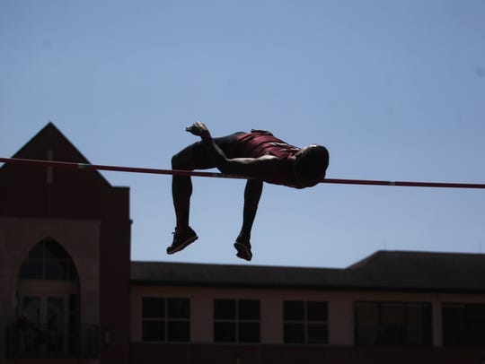 FSU's Corion Knight high jumps during the FSU Relays.