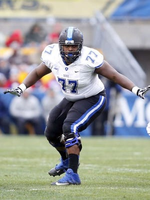 Laken Tomlinson didn't give up a sack during his last two seasons at Duke.