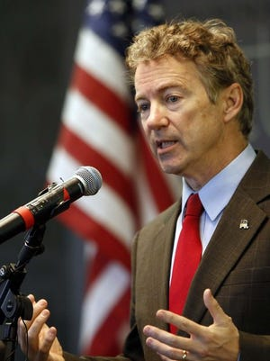 Sen. Rand Paul speaks to workers in Manchester, New Hampshire, March 20.