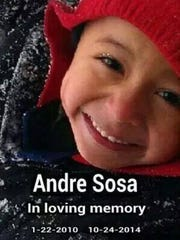 Andre Sosa, 4, died of smoke inhalation after he was trapped inside a burning apartment.