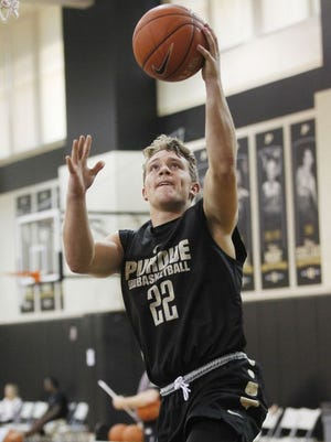 Grant Weatherford during a layup drill at men's basketball practice Monday, October 5, 2015, at Cardinal Court on the campus of Purdue University.