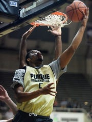 Purdue's Basil Smotherman focuses while shooting a reverse layup, Oct. 24, 2015 at Mackey Arena in West Lafayette.