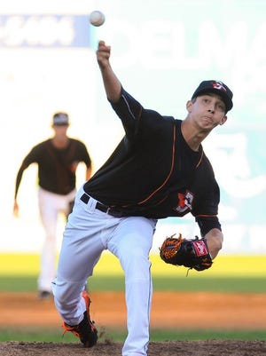 Orioles pitching prospect Hunter Harvey hurls in a pitch in a 2014 Shorebirds home game against the Lakewood Blueclaws.