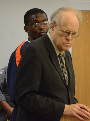 Richard Broomfield with his attorney, Daniel Bremer in court Friday.