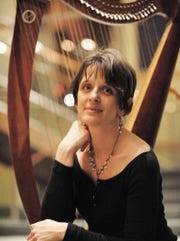 Odarka Stockert will play the harp during a Celtic music concert on Saturday, Dec. 16, 2017, in the Bellevue Avenue Library in Montclair.