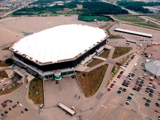 The Pontiac Silverdome as seen from above in 1990. Amazon is expected to develop the site of the Pontiac Silverdome into a distribution center, city officials announced Wednesday.