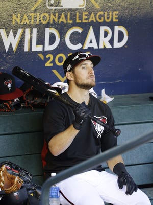 Jeff Mathis is starting at catcher for the Diamondbacks in Game 1 of the NLDS.