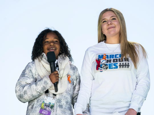 Yolanda King, granddaughter of Martin Luther King Jr. and Jaclyn Corin, right, a survivor of the school shooting at Marjory Stoneman Douglas High School, speak at the March for Our Lives in Washington, D.C., on March 24, 2018.