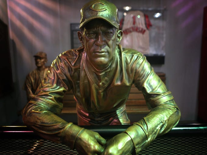 A Sparky Anderson statue on display at the Reds Hall