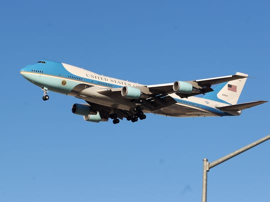 Air Force One prepares to touchdown at Palm Springs International Airport on Friday, June 13, 2014.