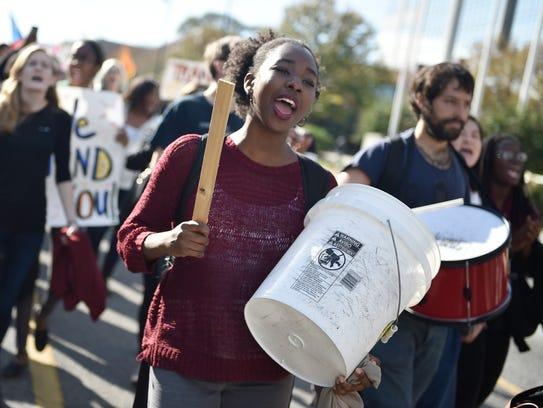 Vanderbilt University protesters march down West End