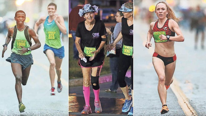 Charles Mathenge, left, Doreen Johnstone, 90, and Bridget Lyons finish the Edison Festival of Light 5K race in downtown Fort Myers on Saturday. Mathenge edged Raymond McCormack, Johnstone completed her 10th Edison race since age 80 and Lyons was the top female.