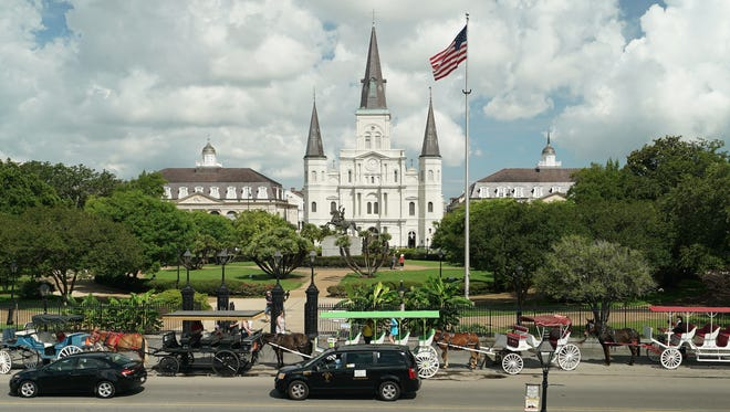New Orleans' Jackson Square and St. Louis Cathedral, one of the oldest cathedrals in the U.S.