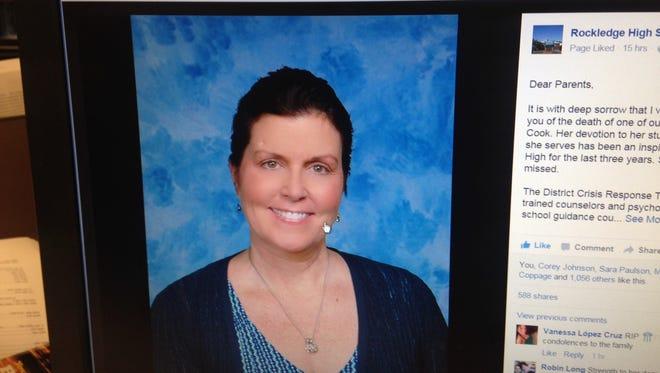 Rockledge High School announced the death of popular teacher Sandra Cook on Facebook.