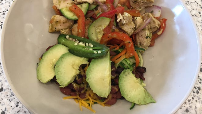 The fajita bowl at Crazy Bowls and Wraps  in Blue Ash