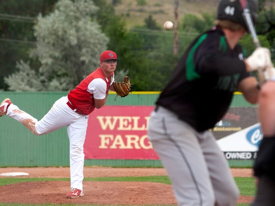 Sioux Falls West's Matt Fiegen pitches during the State Legion game against Pierre Post 8 on Wednesday at Fitzgerald Field in Rapid City.