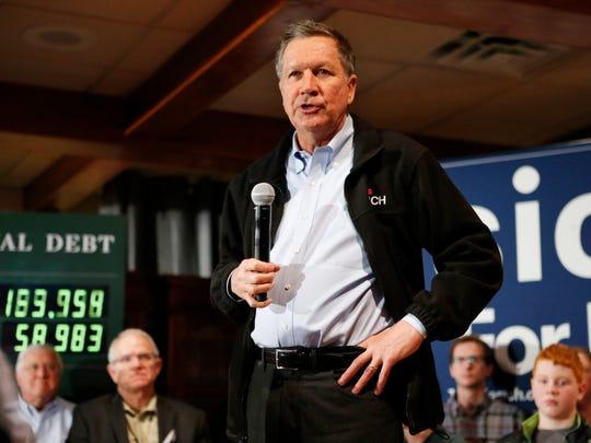 Republican presidential candidate and Ohio Gov. John