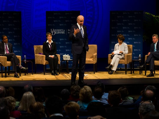 "Former Vice President Joe Biden hosts a roundtable discussion with prominent government and business figures titled ""Choosing a Future of Quality Jobs"" Tuesday in Mitchell Hall at the University of Delaware."