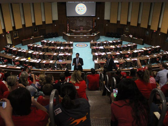 Arizona House Speaker J.D. Mesnard, accompanied by other House lawmakers, spoke with teachers in the House gallery on May 2, 2018. The group asked Mesnard about voting procedures in a cordial and lighthearted discussion.