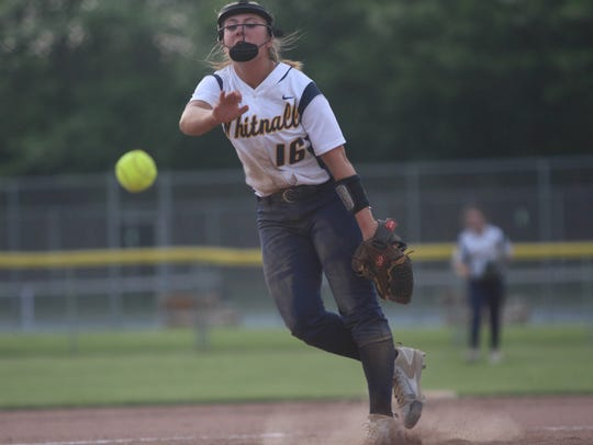 Whitnall pitcher Haley Wynn delivers a pitch during