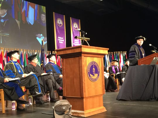 UWSP Chancellor Bernie Patterson speaks during 2014 convocation ceremony, held at the Health Enhancement Center on campus.