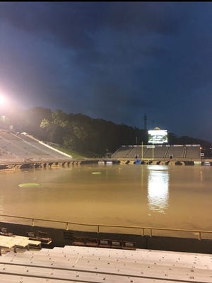 View of Western Michigan's flooded football field on Saturday night.
